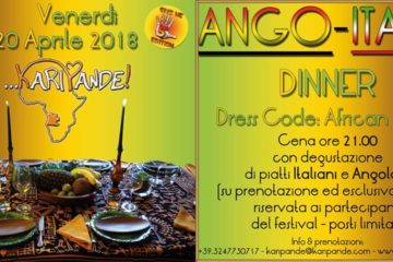 ANGO-ITALIA DINNER. Venerdì 20 Aprile 2018